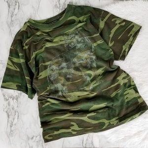 Men's vintage single stitch camo wolf t shirt sz L